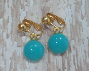 Blue Clip On Earrings, Turquoise Blue Dangle Clipons, Non Pierced Earrings, Gold Tone Clipons Findings - Cleo -7