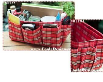 Medium Purse Organizer Insert Handmade Gift / Extra Sturdy / Red Plaid / Medium 22x 8cm