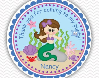 Under the Sea Princess - Little Mermaid - Personalized Stickers, Party Favor Tags, Thank You Tags, Gift Tags, Birthday, Baby Shower