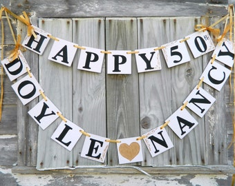 Happy Anniversary Banner -Silver Anniversary Party Decorations -Golden Anniversary Decoration- 25th or 40th or 50th You Pick the Colors