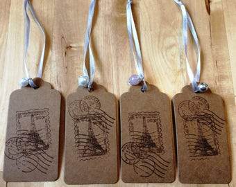 Gift tags set of 4: Paris