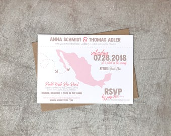 Destination Mexico Wedding Invitation, Digital File, Printing Service Offered, Printable, Custom, Cabo San Lucas