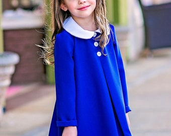 Madeline blue girls dress with white peter pan collar size 2t- girls 10 First day of school dress