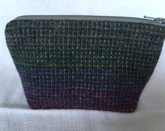 Medium zipped pouch with handwoven front panel in alpaca and wool