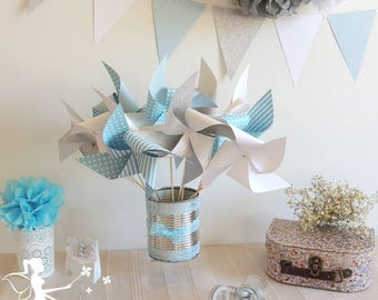 Set of 10 pinwheels wind color pastel blue, white and silver 15cm