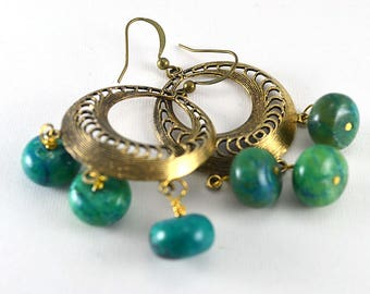 Blue and green chrysocolla brass hoop dangle earrings