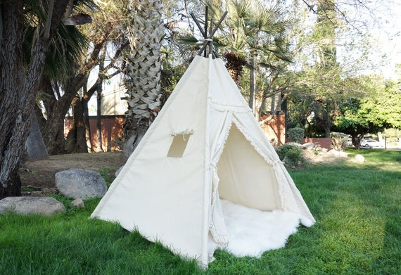 XL Boho teepee 8ft kids Teepee large tipi Play tent wigwam or playhouse with canvas and Overlapping front doors & XL Boho teepee 8ft kids Teepee large tipi Play tent wigwam