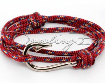 Burgundy Red Nautical Fish Hook Bracelet for Men & Women
