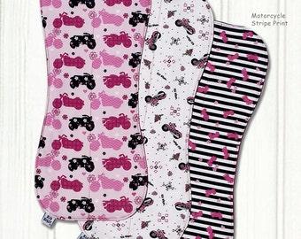 BABY BURP CLOTHS, Baby Girl Burp Cloths, Pink Motorcycle Burp Cloths, Harley Davidson Baby Burp Cloths, Biker Burp Cloth, Newborn Baby