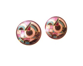 Pair of Roman Signed Circular Shaped Red, Pink, Brown & Green Cloisonne Enamel Geometric Abstract Gold Tone Metal Pierced Earrings