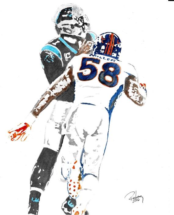 Original Artist Watercolor of Denver Broncos\' VON MILLER