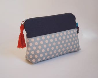 Pouch / clutch in Navy blue fabric and blue polka dots