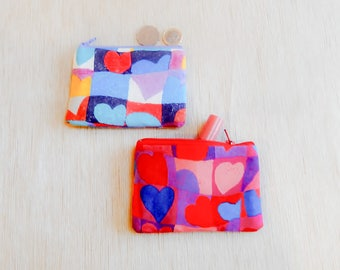 Heart Gift for Women/ Zipper Wallet Pouch/ Make Up Bag/ Valentines Day Gift/ Gift for Her/ Wallet/ Heart Gift for Mom/ Wife Gift/ Pouch