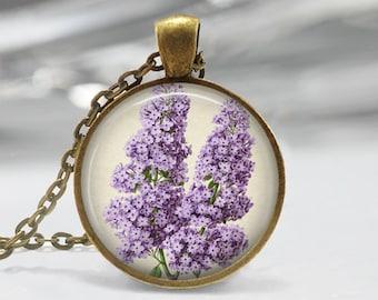 Purple Lilacs Art Pendant, Botanical Pendant, Lilac Necklace, Botanical Art Jewelry, Vintage Art Pendant, Bronze, Silver, Purple Lilacs FL01
