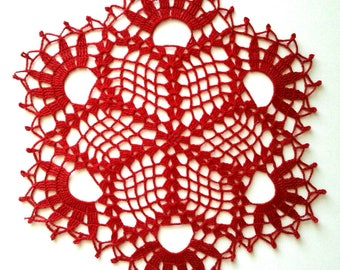 Handmade red lace 10 inches doily - Christmas doily