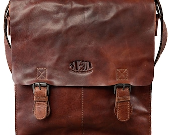 Pride and Soul shoulder bag rusty cage leather Cognac