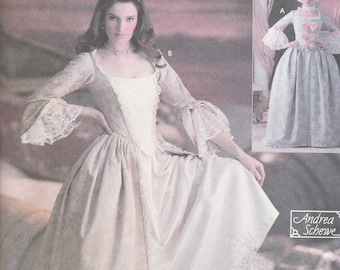 Simplicity 4092 Costume Pattern Womens 18th Century Dress or Marie Antoinette Dress, French Court, Size 6,8,10,12 UNCUT