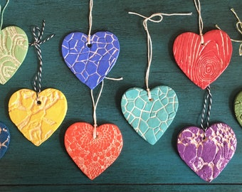 Ceramic Heart Magnets or Ornaments