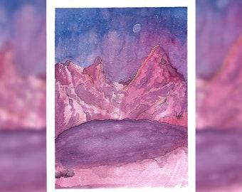 Purple Mountain Lake - Watercolor Painting Print