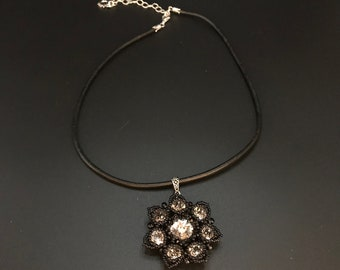Swarovski Clear Crystal Rivoli Beaded Flower on Leather Necklace
