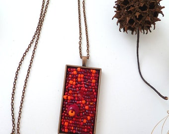 Red melange necklace, wearable art red necklace, antique copper bezel pendant bead embroidery, statement, bohemian,  long necklace