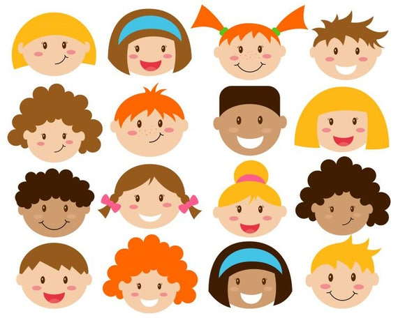 Kids Faces Digital Clipart Cute Kids Clip Art Children Head