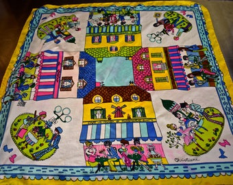 """Vintage 1960s Scarf with French Cafes, Rues, Places ~ SO ADORABLE! French Scarf by """"Christiane,"""" Paris Scene"""