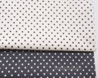 Gray Tiny Stars Cotton Fabric Grey White Stars Cotton Fabric- 1/2 Yard