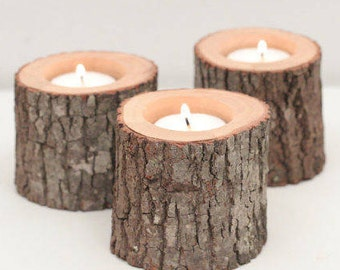 Branch candle holders which are homemade, rustic, recyclable, ethical.