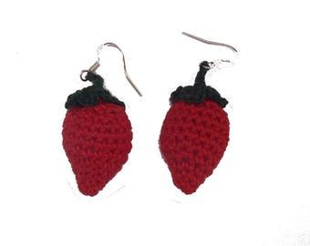 Strawberry earrings crochet