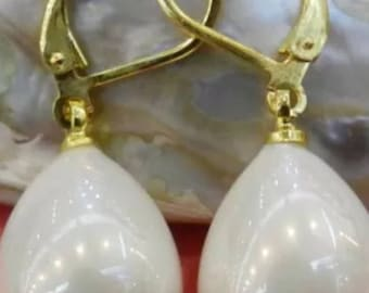White Shell Pearl Drop Dangle Earrings ON SALE