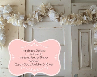 Burlap and Lace Garland, Choose 6 - 10 foot Fabric Cream and white Burlap Banner. Rustic Wedding & Shower Decoration