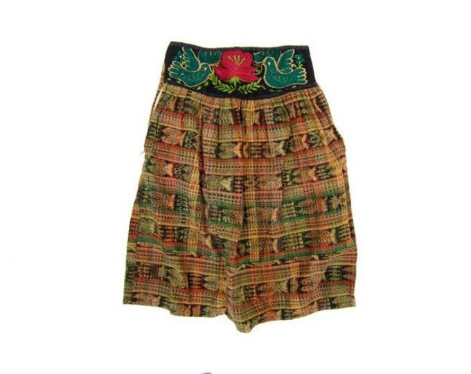 Vintage Guatemalan Skirt Colorful 80s Ethnic Midi Skirt Indigo Blue High Waist Cotton Tribal Skirt Boho Hippie Skirt DES Womens Medium