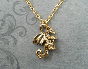 Dragon Necklace SMALL Dragon Jewelry Flying Serpent Gold Necklace Dragon Gift Boyfriend Necklace Fantasy Necklace Gamer Gift Geek Jewelry