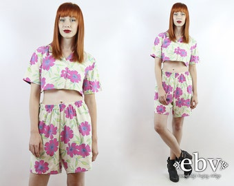 Vintage 90s Floral Crop Top + High Waisted Shorts M L Matching Set Two Piece Set Two Piece Outfit Cropped Top High Waisted Shorts