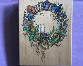 Stampendous Birdhouse Wreath Wood Mounted Rubber Stamp R041