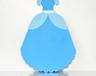 Invitation, Blue Ball Gown, Set of 10 invites for your next Princess Birthday Party, Dress Shaped Invitation for Bridesmaids