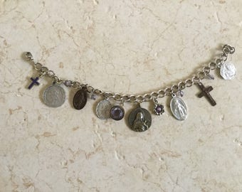 Lucky Charms Vintage Religious Italian Medals Bracelet