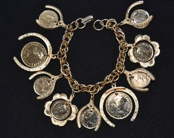 Vintage Charm Bracelet with Canadian and British Coins and Gold Tone Metal Horseshoes, Wishbones and Clovers