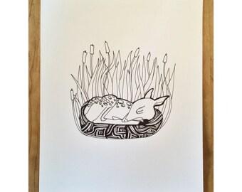 Sleeping Deer Screen Print