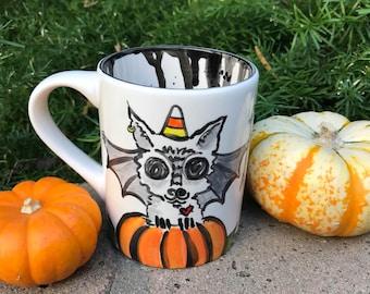 Halloween pumpkin bat cat 16oz hand painted ceramic coffee cup