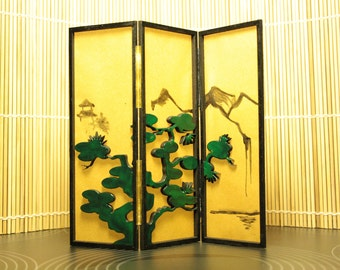 Modern miniature dollhouse Japanese style folding screen - Landscape