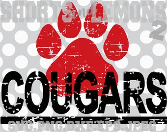 Cougars svg, cougars cricut, cougar Cut File, Coogs, Cougs, iron on, Paw svg, Silhouette, Printable iron on, Digital. Cricut, Distressed svg