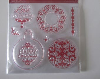 Clear (transparent) stamp on the theme of Christmas