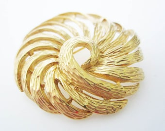 Napier Textured Gold Vintage Brooch