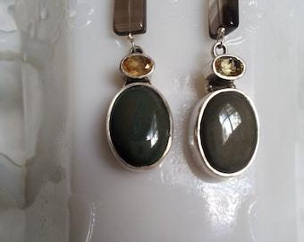 Beautiful Rainbow Obsidian Earrings 925 Sterling Silver with Citrine Smoky Quartz Hooks Gemstone Jewelry Healing Reiki