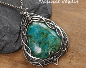 Silver pendant with Chrysocolla - handmade silver Art Nouveau Jugendstil pendant with a cabuchon of the blue and green gemstone Chrysocolla