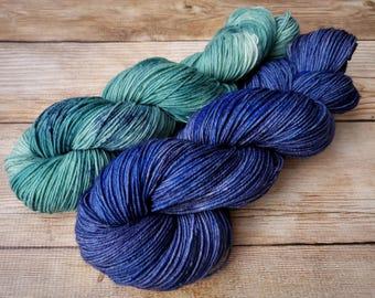 Skein Sisters - two coordinating skeins - hand-dyed fingering weight superwash merino sock yarn