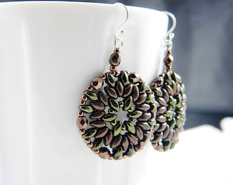 "READY TO SHIP Bronze and Metallic Green Superduo Beadweaving Earrings ""Forest"""
