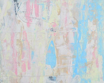 Pale Pink & Blue Abstract Art. Affordable Abstract Painting.  Palette Knife Painting. Valentine Gift for Her. Muted Colors Home Decor